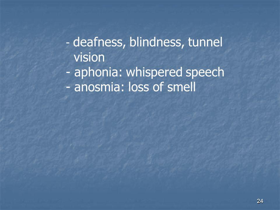 - aphonia: whispered speech - anosmia: loss of smell