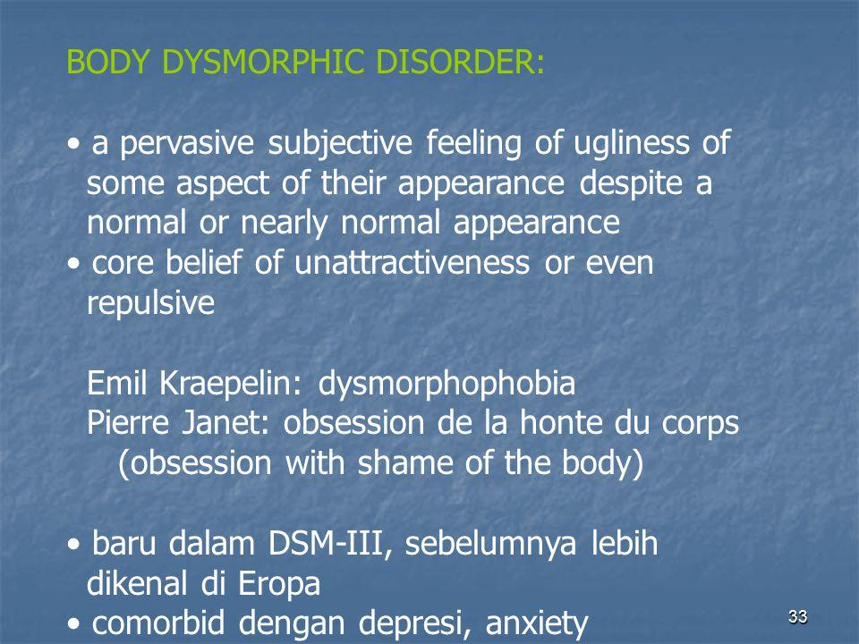 BODY DYSMORPHIC DISORDER: