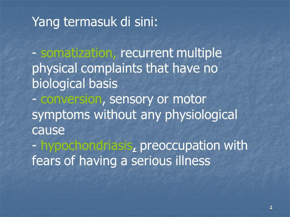 Yang termasuk di sini: somatization, recurrent multiple physical complaints that have no biological basis.