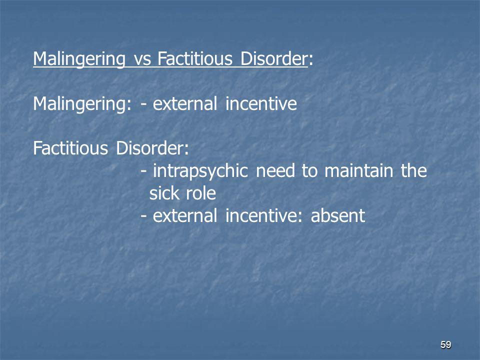 Malingering vs Factitious Disorder: