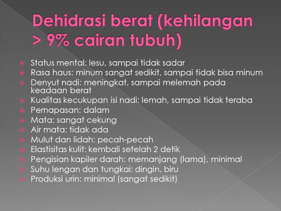 Dehidrasi berat (kehilangan > 9% cairan tubuh)