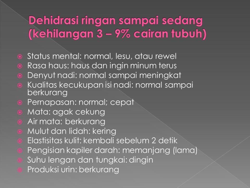 Dehidrasi ringan sampai sedang (kehilangan 3 – 9% cairan tubuh)