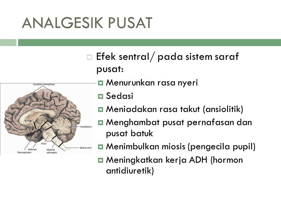 ANALGESIK PUSAT Efek sentral/ pada sistem saraf pusat: