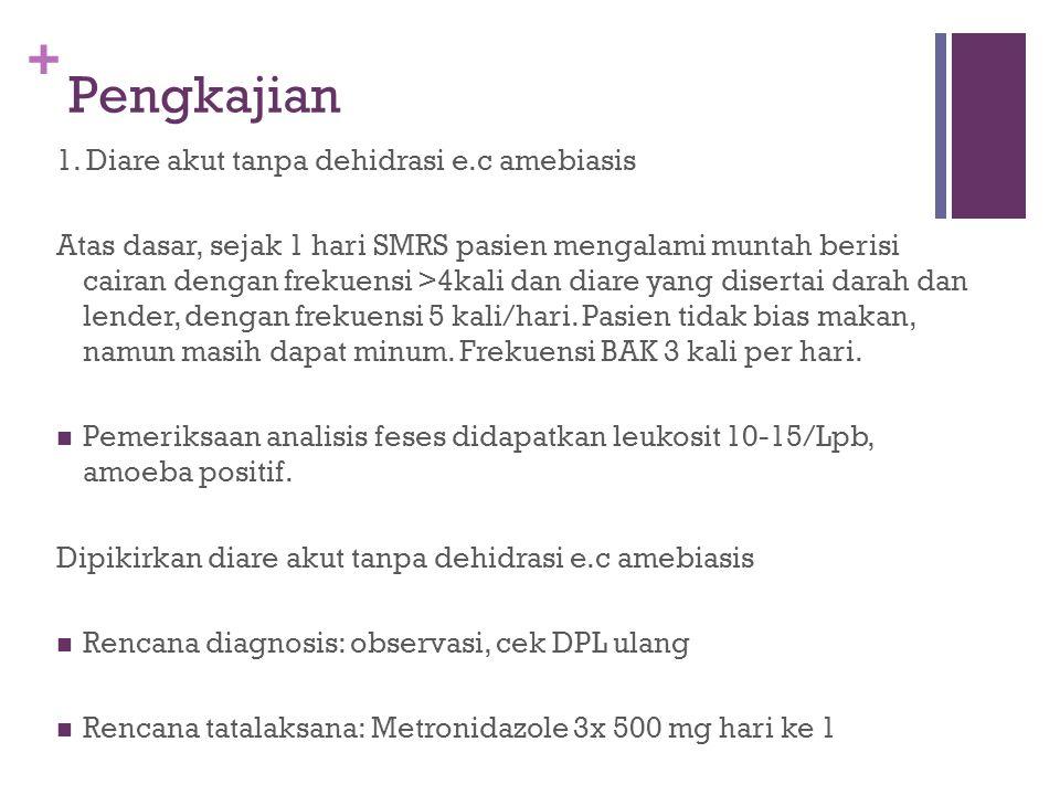 Pengkajian 1. Diare akut tanpa dehidrasi e.c amebiasis