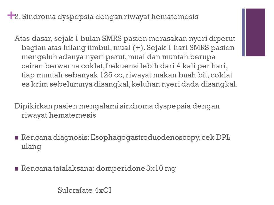 2. Sindroma dyspepsia dengan riwayat hematemesis
