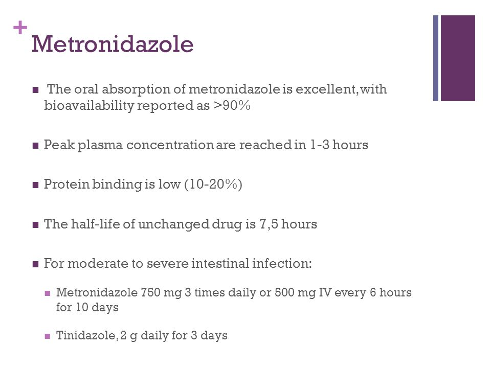 Metronidazole The oral absorption of metronidazole is excellent, with bioavailability reported as >90%