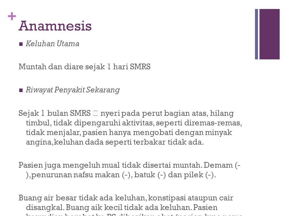 Anamnesis Keluhan Utama Muntah dan diare sejak 1 hari SMRS