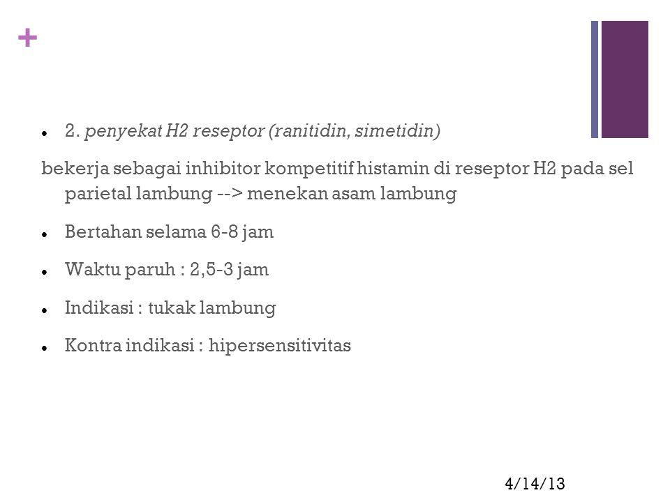 2. penyekat H2 reseptor (ranitidin, simetidin)