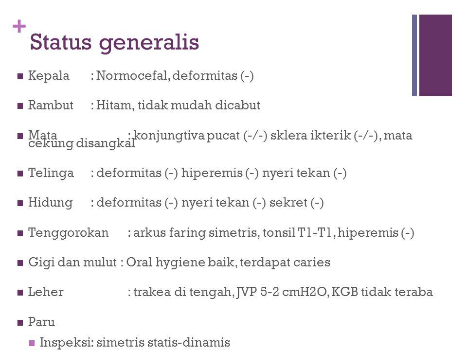 Status generalis Kepala : Normocefal, deformitas (-)