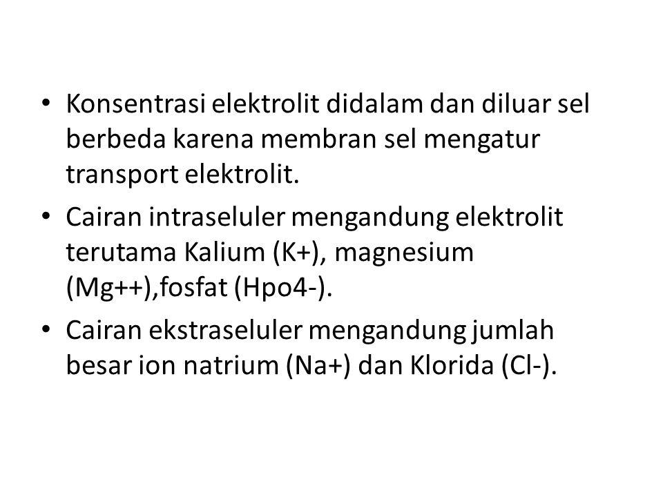 Konsentrasi elektrolit didalam dan diluar sel berbeda karena membran sel mengatur transport elektrolit.