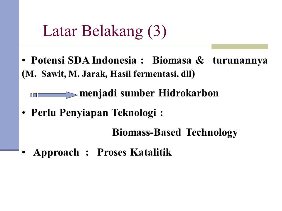 Latar Belakang (3) Potensi SDA Indonesia : Biomasa & turunannya (M. Sawit, M. Jarak, Hasil fermentasi, dll)