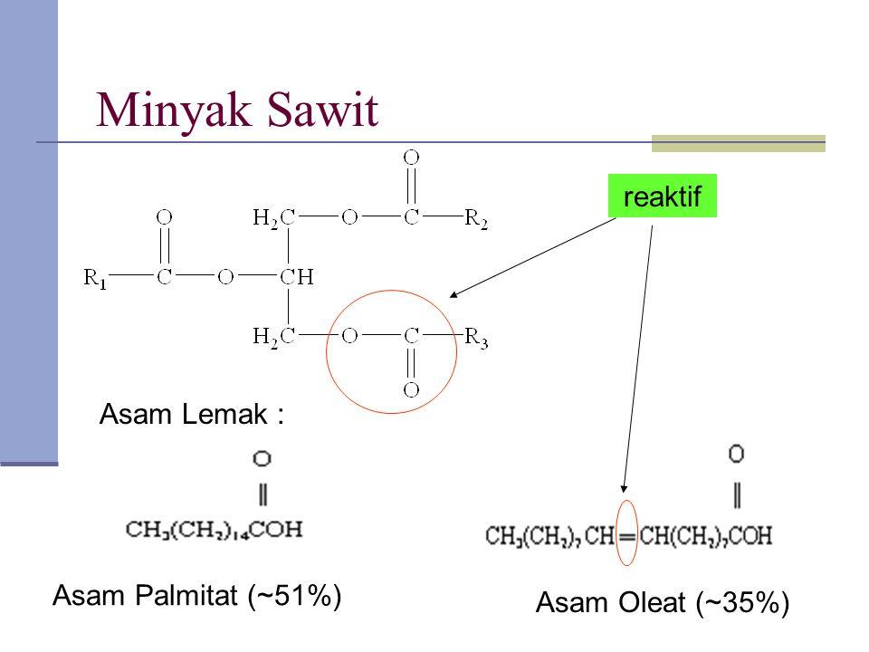Minyak Sawit reaktif reaktif Asam Lemak : Asam Palmitat (~51%)