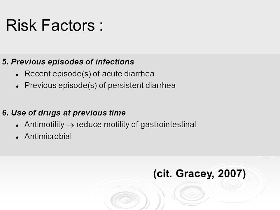 Risk Factors : (cit. Gracey, 2007) 5. Previous episodes of infections