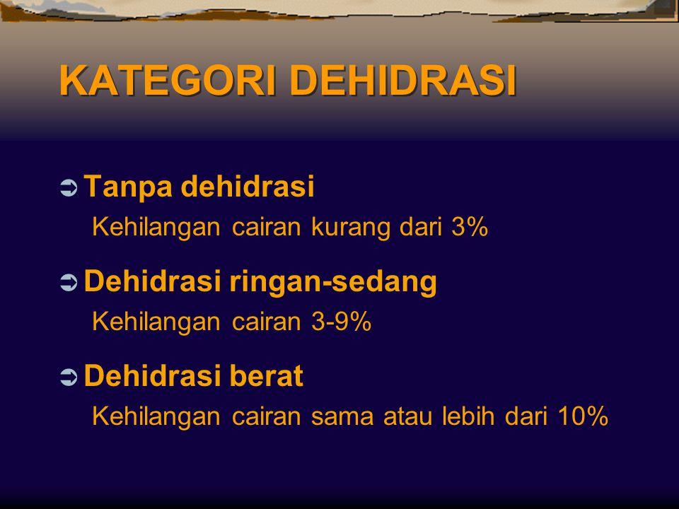 KATEGORI DEHIDRASI Tanpa dehidrasi Dehidrasi ringan-sedang
