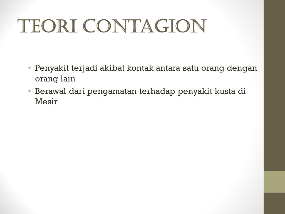 Teori Contagion Penyakit terjadi akibat kontak antara satu orang dengan orang lain.
