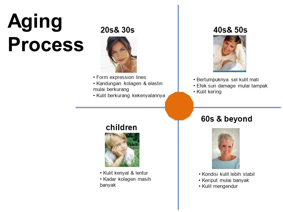 Aging Process 20s& 30s 40s& 50s 60s & beyond children