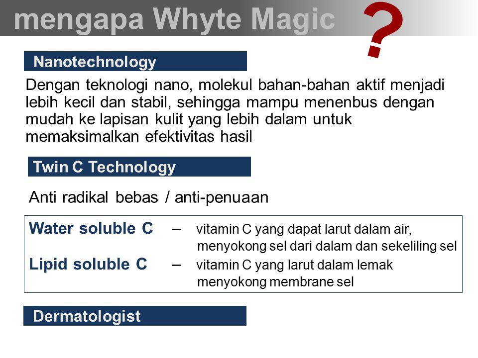 mengapa Whyte Magic Anti radikal bebas / anti-penuaan