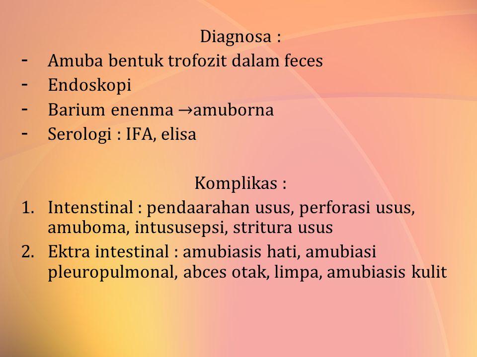 Diagnosa : Amuba bentuk trofozit dalam feces. Endoskopi. Barium enenma →amuborna. Serologi : IFA, elisa.