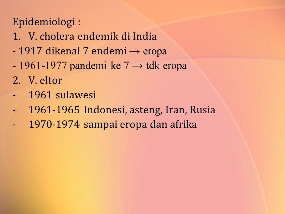Epidemiologi : V. cholera endemik di India. - 1917 dikenal 7 endemi → eropa. - 1961-1977 pandemi ke 7 → tdk eropa.