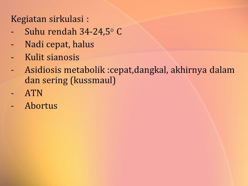 Kegiatan sirkulasi : Suhu rendah 34-24,5o C. Nadi cepat, halus. Kulit sianosis.