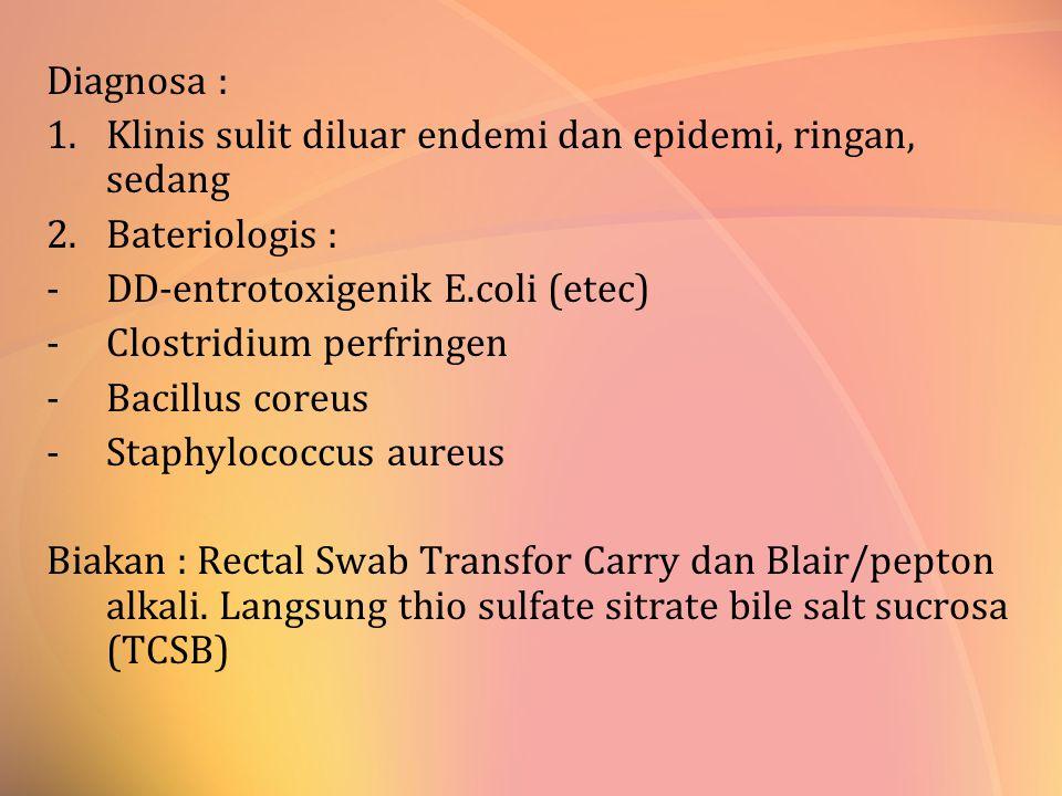 Diagnosa : Klinis sulit diluar endemi dan epidemi, ringan, sedang. Bateriologis : DD-entrotoxigenik E.coli (etec)