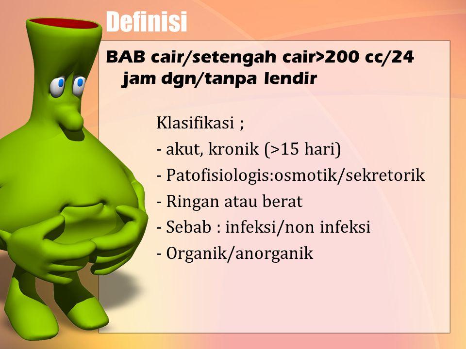 Definisi BAB cair/setengah cair>200 cc/24 jam dgn/tanpa lendir