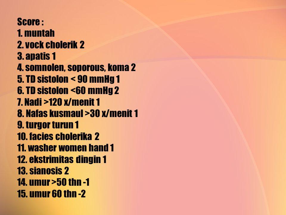 Score : 1. muntah 2. vock cholerik 2 3. apatis 1 4