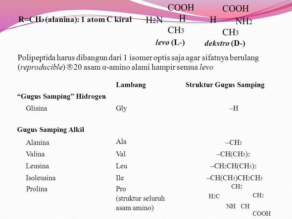 COOH COOH H2N H CH3 CH3 R=CH3 (alanina): 1 atom C kiral levo (L-)