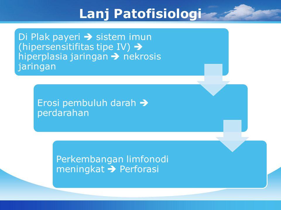 Lanj Patofisiologi Di Plak payeri  sistem imun (hipersensitifitas tipe IV)  hiperplasia jaringan  nekrosis jaringan.