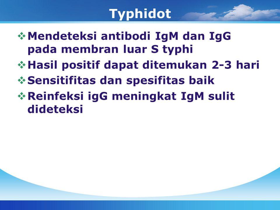 Typhidot Mendeteksi antibodi IgM dan IgG pada membran luar S typhi