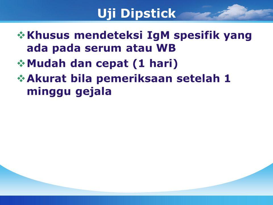 Uji Dipstick Khusus mendeteksi IgM spesifik yang ada pada serum atau WB.