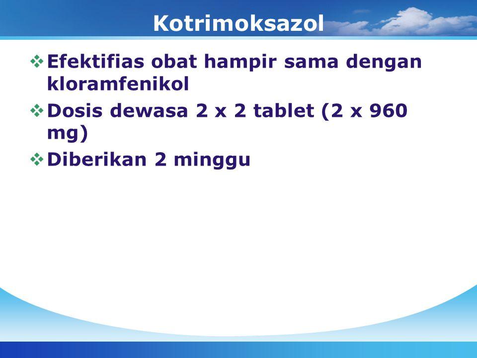 Kotrimoksazol Efektifias obat hampir sama dengan kloramfenikol