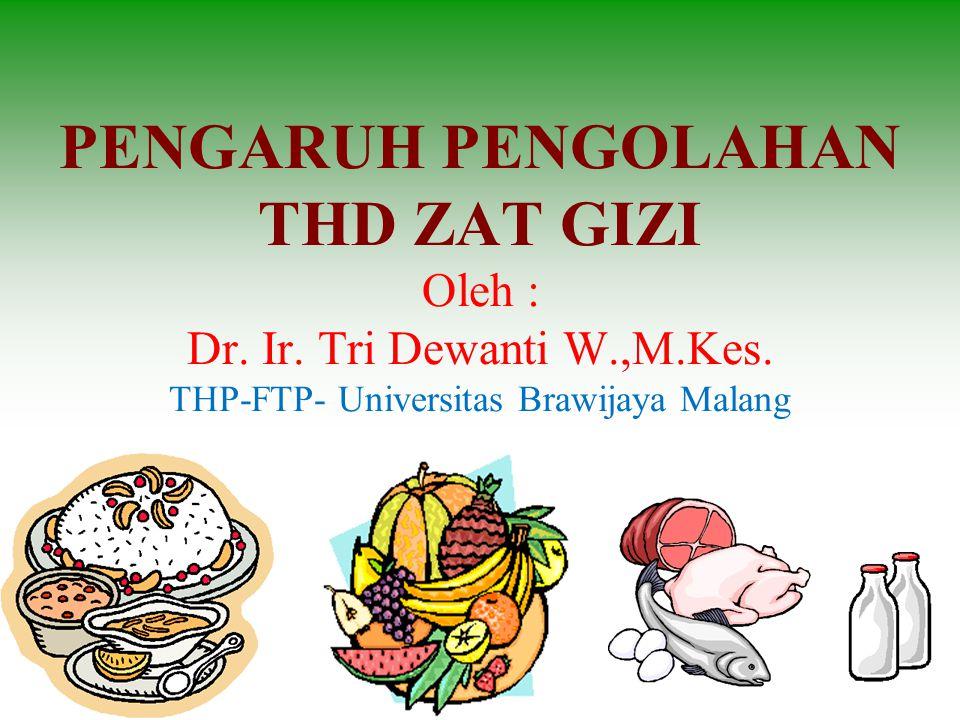 PENGARUH PENGOLAHAN THD ZAT GIZI Oleh : Dr. Ir. Tri Dewanti W. ,M. Kes