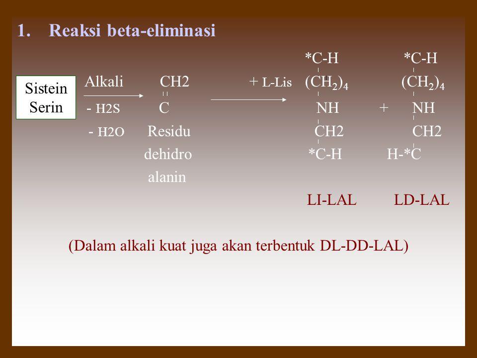 (Dalam alkali kuat juga akan terbentuk DL-DD-LAL)