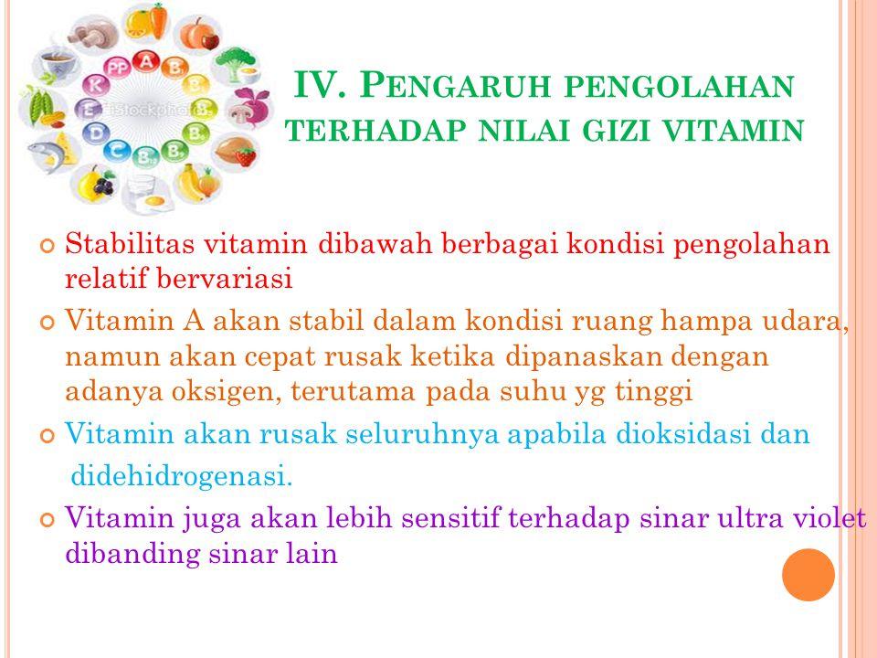 IV. Pengaruh pengolahan terhadap nilai gizi vitamin