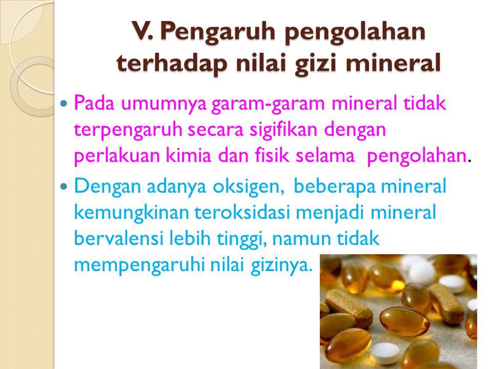 V. Pengaruh pengolahan terhadap nilai gizi mineral