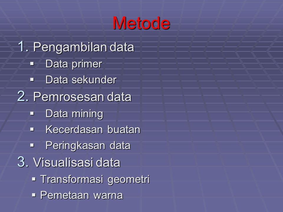 Metode Pengambilan data Pemrosesan data Visualisasi data Data primer