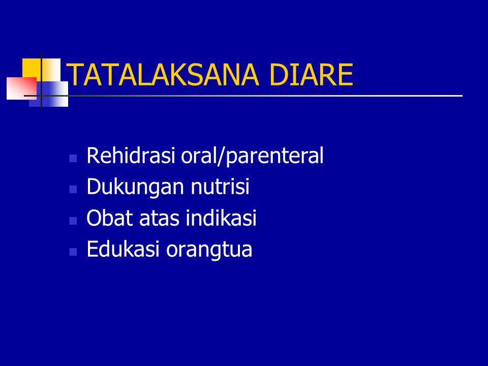 TATALAKSANA DIARE Rehidrasi oral/parenteral Dukungan nutrisi