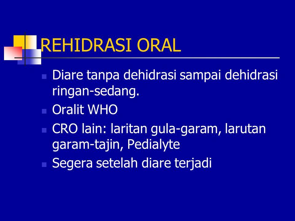 REHIDRASI ORAL Diare tanpa dehidrasi sampai dehidrasi ringan-sedang.