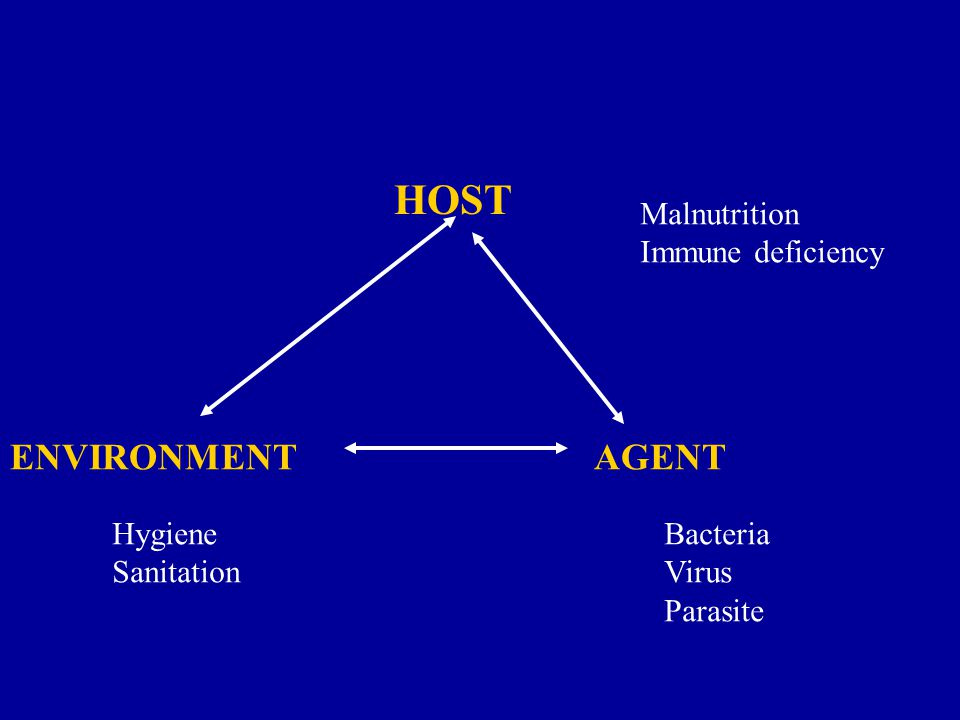 ENVIRONMENT AGENT HOST Malnutrition Immune deficiency Hygiene