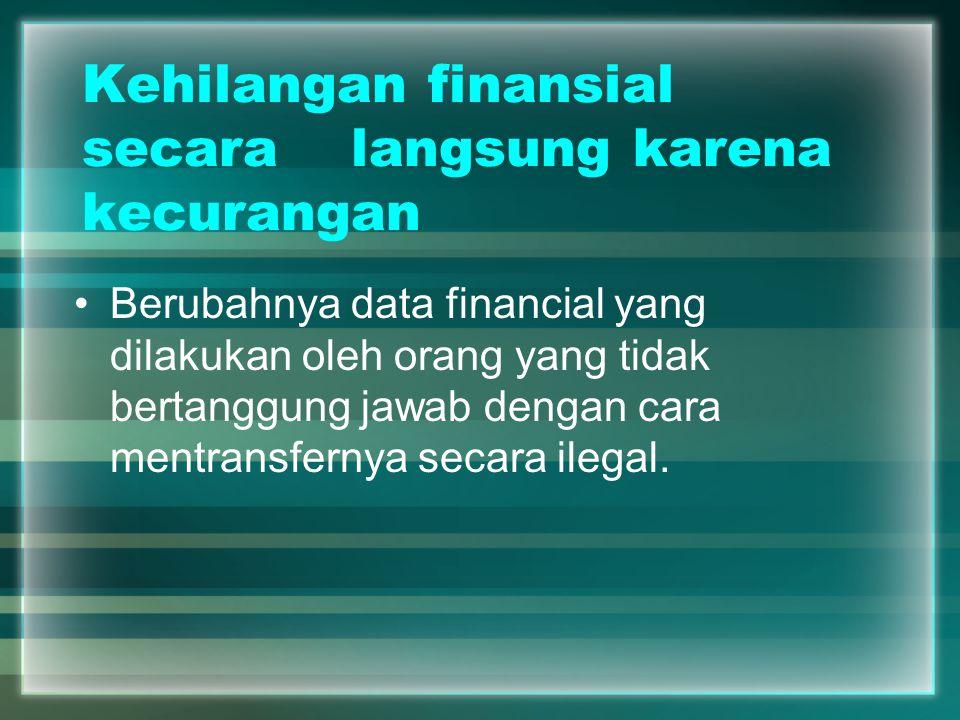 Kehilangan finansial secara langsung karena kecurangan