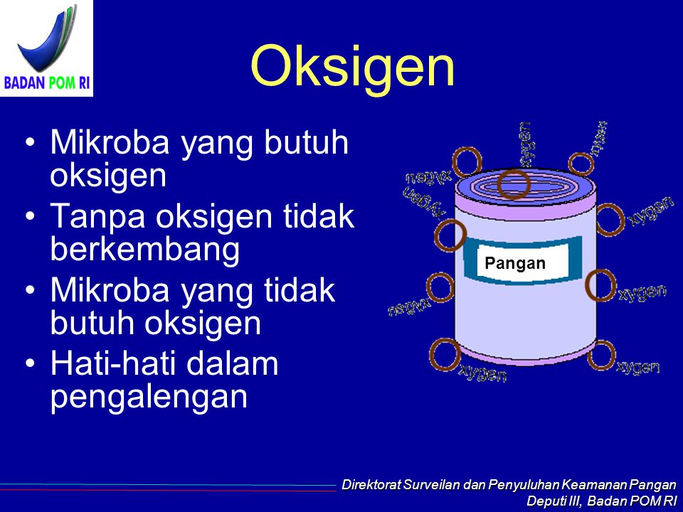 Oksigen Mikroba yang butuh oksigen Tanpa oksigen tidak berkembang