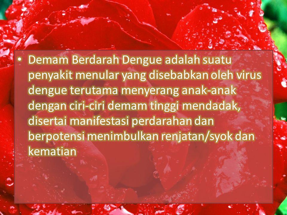 Demam Berdarah Dengue adalah suatu penyakit menular yang disebabkan oleh virus dengue terutama menyerang anak-anak dengan ciri-ciri demam tinggi mendadak, disertai manifestasi perdarahan dan berpotensi menimbulkan renjatan/syok dan kematian