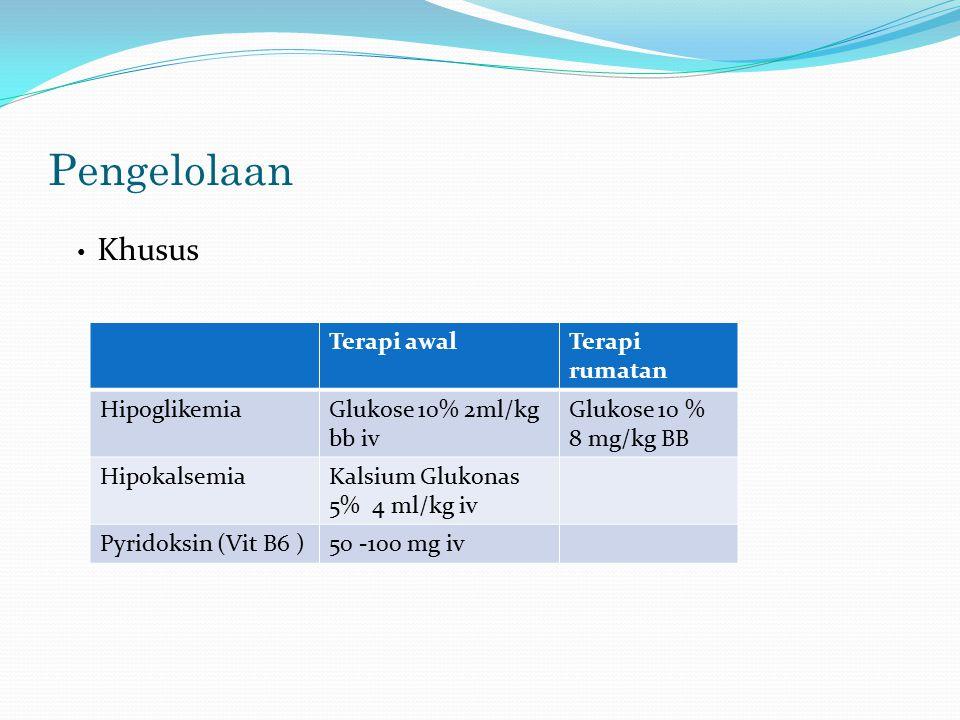 Pengelolaan Khusus Terapi awal Terapi rumatan Hipoglikemia