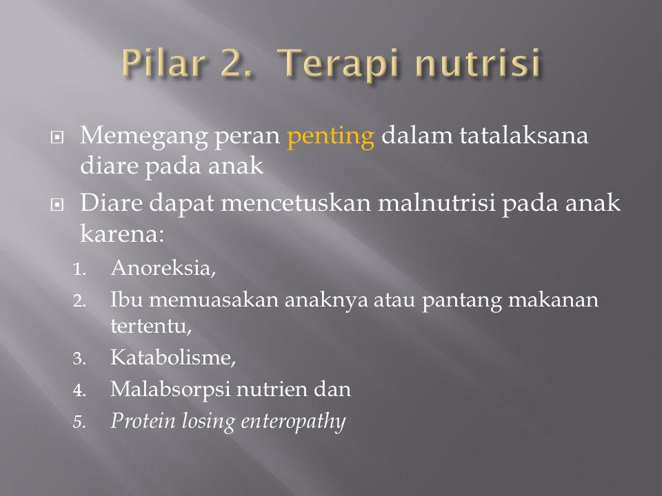 Pilar 2. Terapi nutrisi Memegang peran penting dalam tatalaksana diare pada anak. Diare dapat mencetuskan malnutrisi pada anak karena: