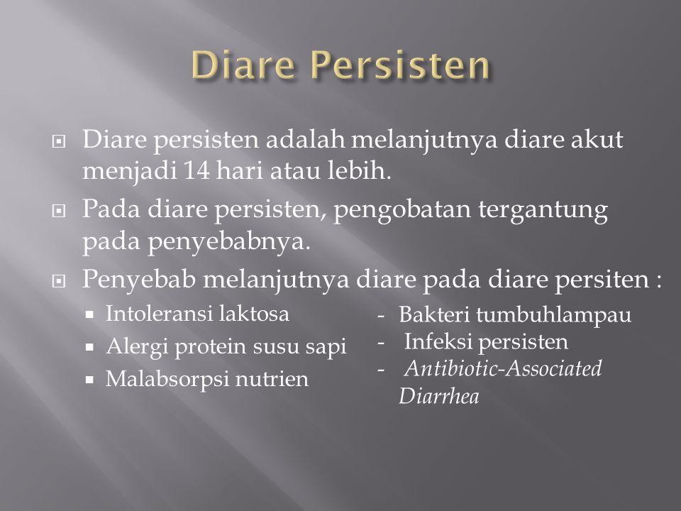 Diare Persisten Diare persisten adalah melanjutnya diare akut menjadi 14 hari atau lebih.