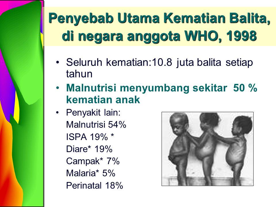 Penyebab Utama Kematian Balita, di negara anggota WHO, 1998