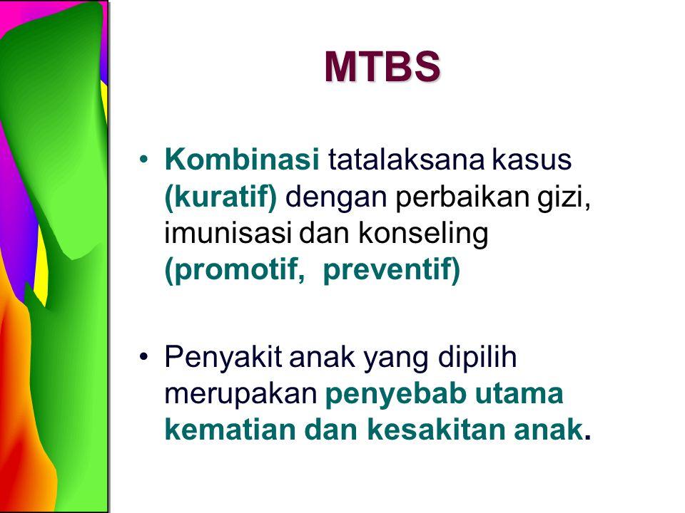 MTBS Kombinasi tatalaksana kasus (kuratif) dengan perbaikan gizi, imunisasi dan konseling (promotif, preventif)