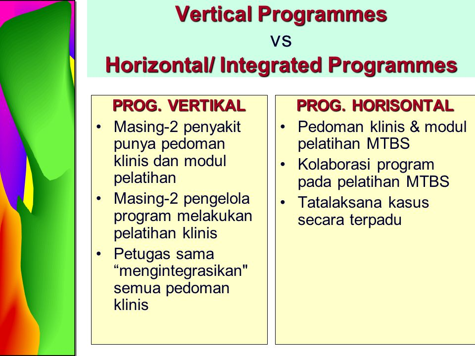 Vertical Programmes vs Horizontal/ Integrated Programmes