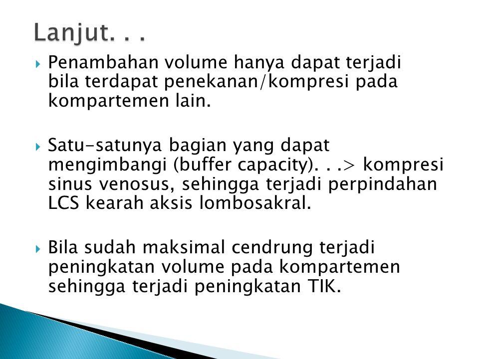 Lanjut. . . Penambahan volume hanya dapat terjadi bila terdapat penekanan/kompresi pada kompartemen lain.